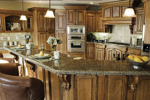 brown wood corbels kitchen bar wood kitchen cabinets granite countertop phoenix cabinet cures