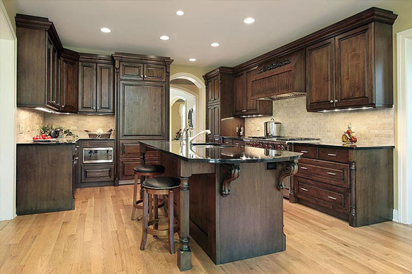 brown wood corbels kitchen island dark wood kitchen cabinets ...