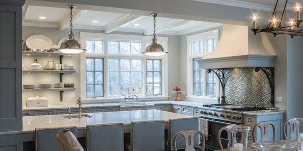 wrought iron corbels blue and white traditional kitchen