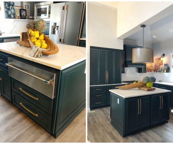 blue green trendy kitchen design